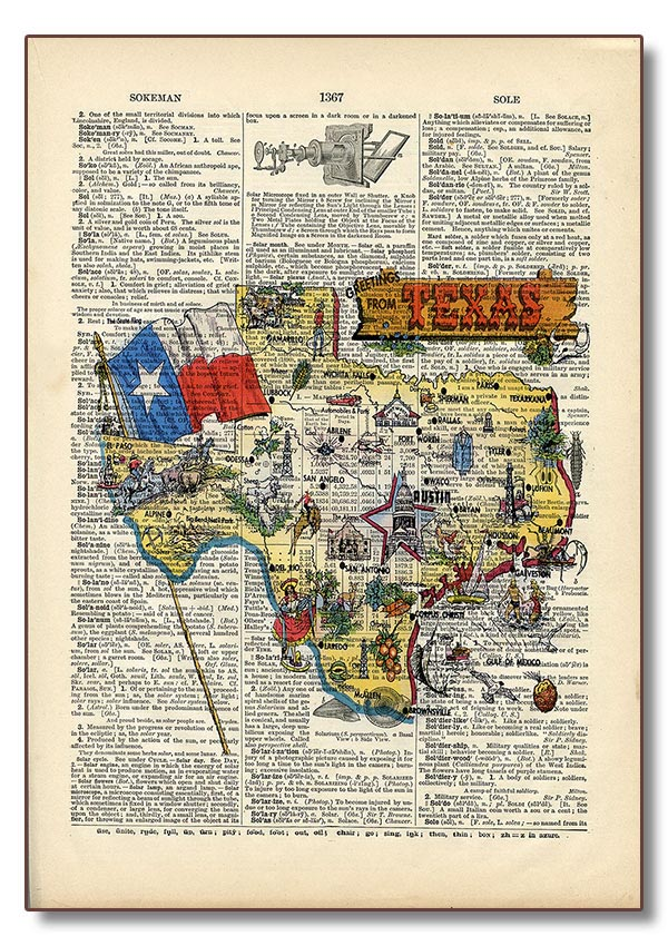 Texas Map Vintage Dictionary Art Retail
